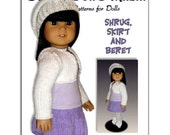 Knitting Pattern, fits American Girl and all 18 inch dolls, shrug and skirt. AG 034