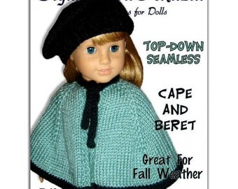 Knitting pattern. Fits American Girl Doll. Cape and Beret, 18 inch. Instant Download 018