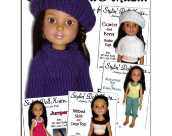 Knitting Patterns, Fit BFC, Ink., Doll clothes, 18 inch slim dolls. PDF, Instant Download