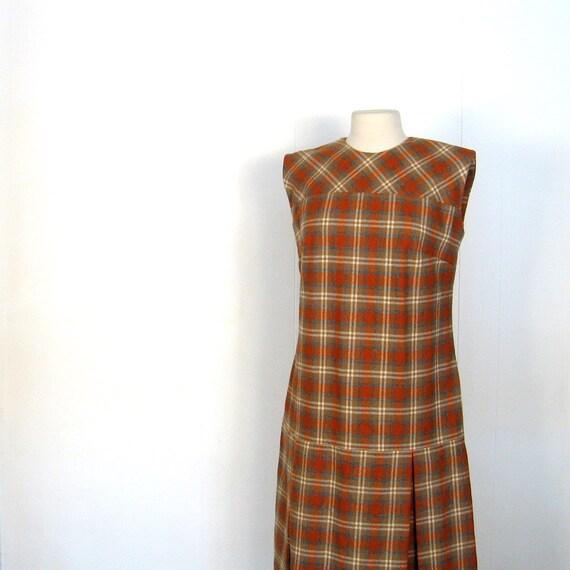 60s Dress / Plaid Dress / 1960s Dress / Pumpkin Orange / M