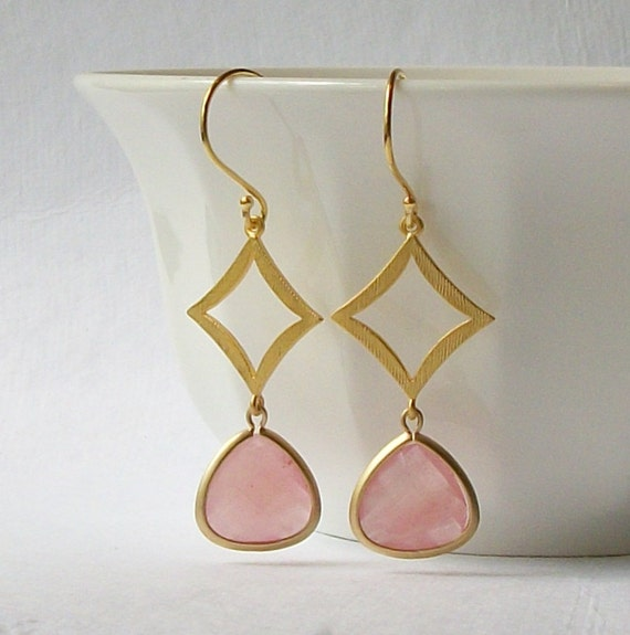 LAST ONE Pale Pink Crystal Gold Dangle Earrings