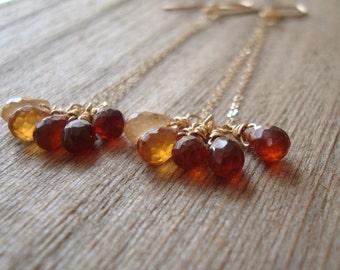Hessonite Garnet Swing Earrings, 14kt Goldfilled. Long Dangle Earrings, Yellow Orange Gems
