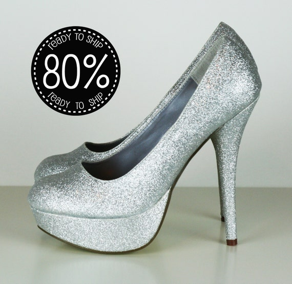 80% OFF Silver Glitter High Heels, Bridal, Prom, Sparkle PUMPS size 7.5