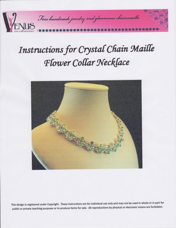 Clearance Sale - Crystal Chain Maille Flower Necklace Instructions PDF