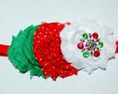 Baby CHRISTMAS Headband Girls Infant Red Green Chiffon Rosette Headband Newborn Holiday