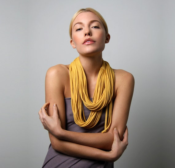 Infinity Scarf, Yellow Scarf, Yellow Necklace, Gift For Woman, Girlfriend Gift, Gift Ideas, For Her, Gift for Mom, Wife Gift, Womens Gift