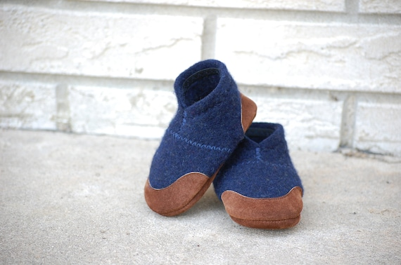 Baby Shoes, Wool Toddler Slippers, Eco Friendly, size 0-12 months, Out to Sea