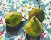 Still life of pears and flowers  / original acrylic painting on canvas