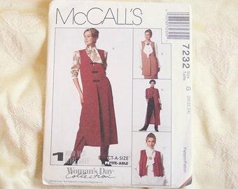 Long Mod Vest Sewing Pattern Vintage Sewing McCalls Long VEST Size 20 to 24
