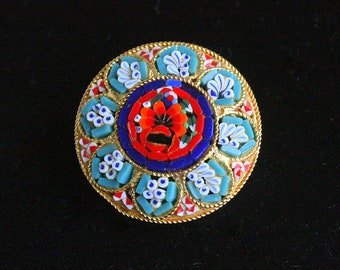 Glass Mosaic Brooch Vintage Italian Round Pin Colorful Red Aqua Blue White Floral Signed