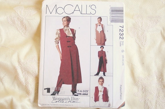 Long Mod Vest Sewing Pattern Vintage Sewing McCalls Long VEST Size 20 to 24