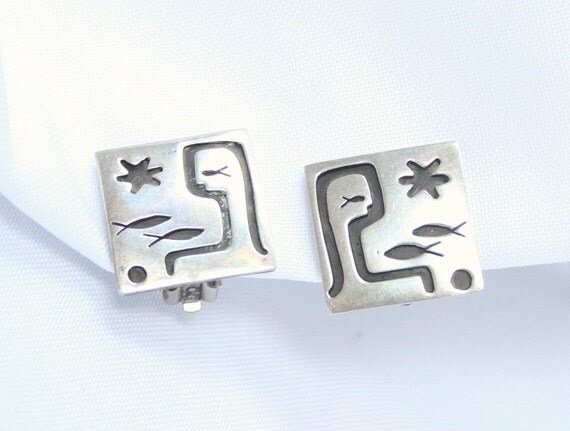 Vintage Sterling Modernist Earrings Square Silver Tribal Picasso Aztec Inspired