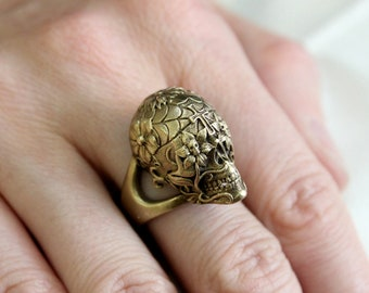 Sugar Skull Ring in Burnished Yellow Bronze Size 6 only - An Exclusive of Moon Raven Designs 2032