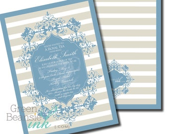 FORMAL TEA Printable Party Invitation - Blue and Gray Printing Available