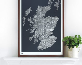 Scotland Type Map - decorative screen print