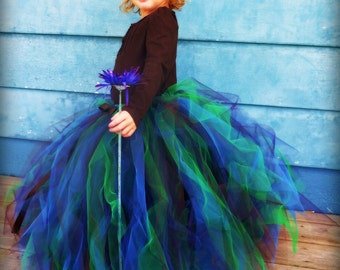 Peacock Couture Sewn Tulle Tutu Skirt - Blue Green Plum Brown - Made to order - flower girl, birthday, photography prop, costume