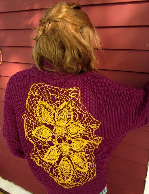 Maroon Upcycled Oversized Dolman Sleeve Crochet Back Sweater with Native Woven Trim Size XL by MountainGirlClothing