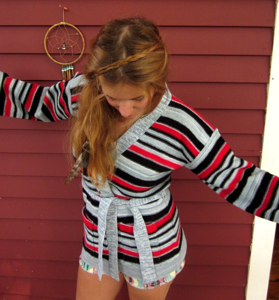 Vintage 70's Striped Space Dyed Wrap Sweater with Belt and Bell Sleeves