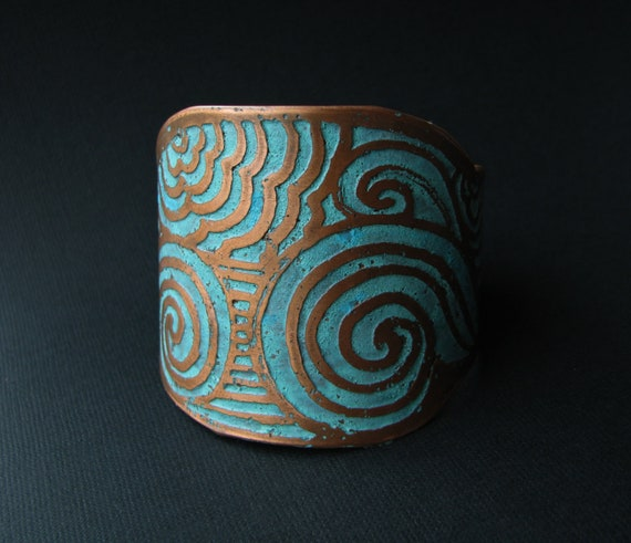 Etched Cuff, Copper,  Sea Swell Design,  Unisex Bracelet,   Etched Metal, handmade jewelry in Austin, Tx