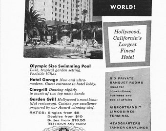 1950s Hotel Advertisement - The Roosevelt Hotel Hollywood California - Vintage Antique Retro 50s Era Pop Art Ad for Framing 50 Years Old