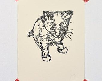Kitten (drawing in thread)- Letterpressed Print