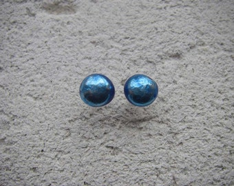 OCEAN BLUE Scrap silver stud earrings