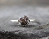 Rough Diamond Solitaire and Sterling Silver Ring - Rough Diamond Engagement Ring - Handmade and Designed by A Second Time
