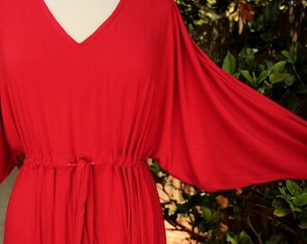 Kaftan - Long Sleeve Maxi Dress in Red Jersey Knit - Caftan - Lots of Colors