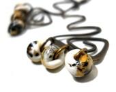 SALE Wavy Brass Beaded Earrings, Lampwork Drops, Natural Colors, Earthy, Rustic Boho Fashion, White Tan, Black Glass Beads, Art Nouveau
