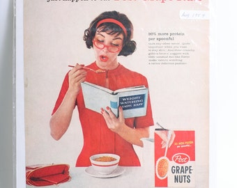 1959 Original Cereal Advertisement Post Grape Nuts for Diet from LIFE Magazine