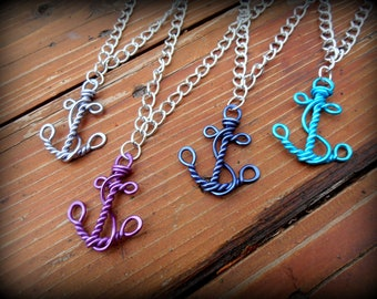 Wire Work Anchor - Nautical Faith and Hope Necklace - Choose your own Color