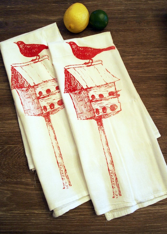 Towel Set of 2 - Red BIRDHOUSE Flour Sack Kitchen Dish Towels - Renewable Natural Cotton