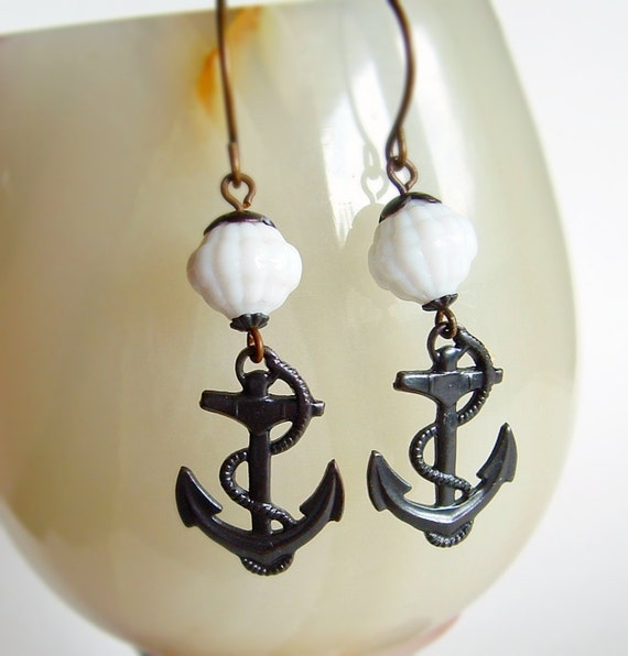 Nautical Anchor Earrings Vintage Glass Oxidized Brass Charms Black Metal Victorian Nautical