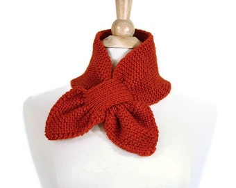 Keyhole scarf - knit scarf - orange scarf - knit ascot - warm winter scarf - unique scarf - knit cowl scarf - knit neckwarmer - gift for her