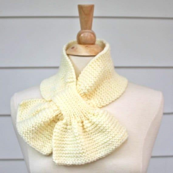 Knit Keyhole Scarf Pattern : cream knit scarf ivory keyhole scarf white knit cowl knit