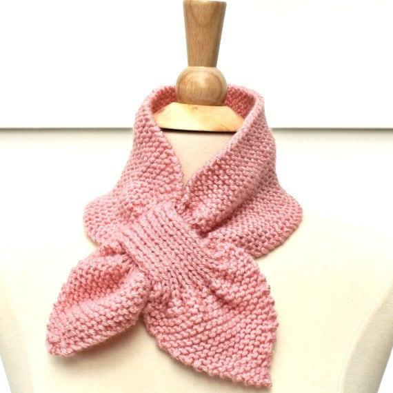 Knitting Pattern Light Scarf : Light pink knit scarf hand knit keyhole scarf pink knit