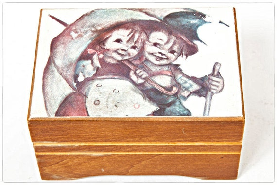 Vintage Thorens Movement Music Box, Children with Umbrella, Brahms Lullaby
