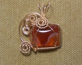 Orange and Tan Banded AGATE Gemstone Gold Wire Wrap Necklace Pendant