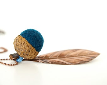 Acorn Necklace NAVY BLUE, Nature Inspired and Eco Friendly Fall Autumn Jewelry, Eco Friendly Needle Felted Pendant - wool