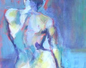 "Abstract Female Portrait Print of Original Oil Painting ""Blue Nude"" 8 x 10"
