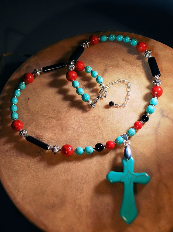 Southwestern Turquoise Cross Pendant Necklace, Turquoise and Red Coral Necklace, Christian Witness Necklace, Native Inspired Cross Jewelry