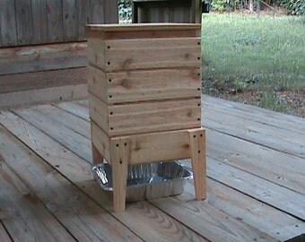 Homemade Wood Worm Bin - Cedar 4 Tray
