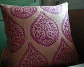 Tree and Fern fig hand block printed purple on ginger coffee brown linen pillow cover home decor decorative your choice of size