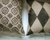 Black and Tan Foulard or Argyle Menswear Hand Printed Linen PIllow Case