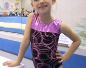 Girls Gymnastics Leotard Inspired by London Childrens size 4 5 6 7 8 9 10  metallic pink black circles design New Youth gym tank leo