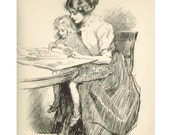 Gibson Girl and Child - Rare Signed 1909 Uncirculated Artist Proof - Print  - No Time for Politics -  No. 11