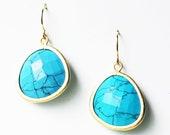 Oversized Gemstone Earring - Semi-Precious Turquoise