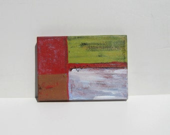 """Abstract original painting, red and green, 5"""" x 7"""", contemporary painting on canvas, desk decor, gift idea"""