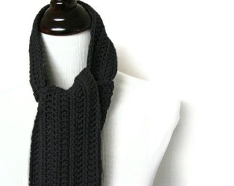 Mens Scarf, Black Mens Scarves, Crochet Scarf, Man Scarf, Boys Scarf, For Him - MADE TO ORDER