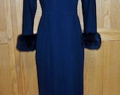 Black Dress 60s FUR clad Beverly Hills sexy silhouette size s / m